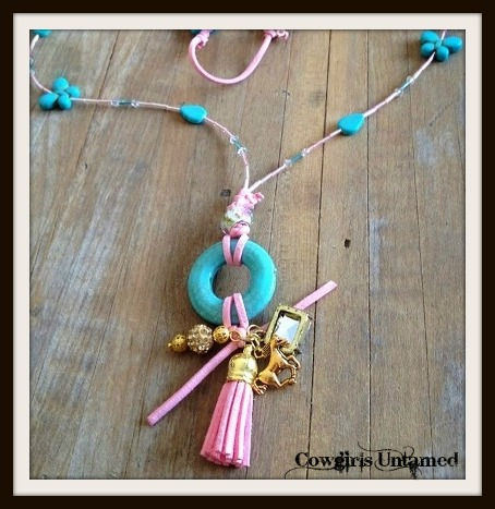 COWGIRL GLAM NECKLACE Turquoise Butterflies N' Leaves Pink Leather Crystal Gold Charm Necklace