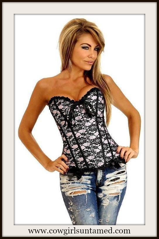 CORSET - Pink And Black Lace Overlay Sweetheart Neckline Satin Bows Western Corset Top
