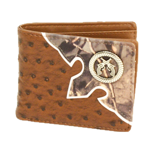 COWBOY STYLE WALLET Silver Sixshooter Pistol Concho Ostrich Leather and Camo Western Wallet