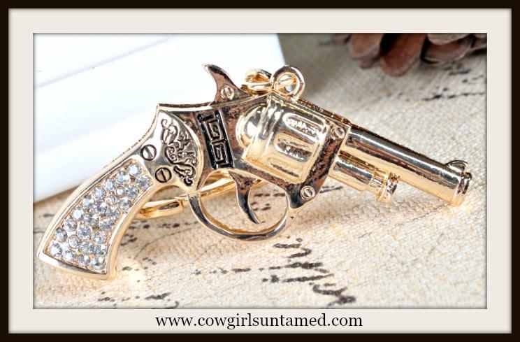 COWGIRL OUTLAW KEYCHAIN Golden Rhinestone Pistol Keychain