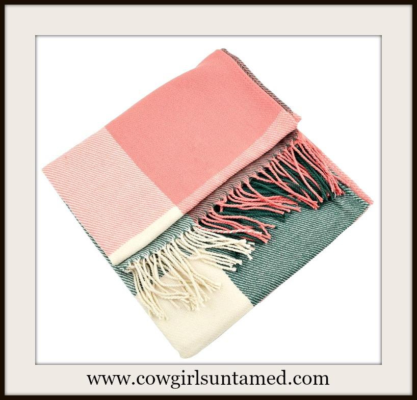 COWGIRL GLAM SCARF Pastel Plaid Fringe Scarf / Wrap/ Shawl