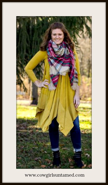 COWGIRL STYLE TOP Golden Yellow V Neck 3/4 Sleeve Hankerchief Hem Tunic Top
