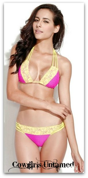 COWGIRL GYPSY BIKINI Hot Pink & Navy Blue Polka Dot and Yellow Lace Trim DESIGNER Bikini Set