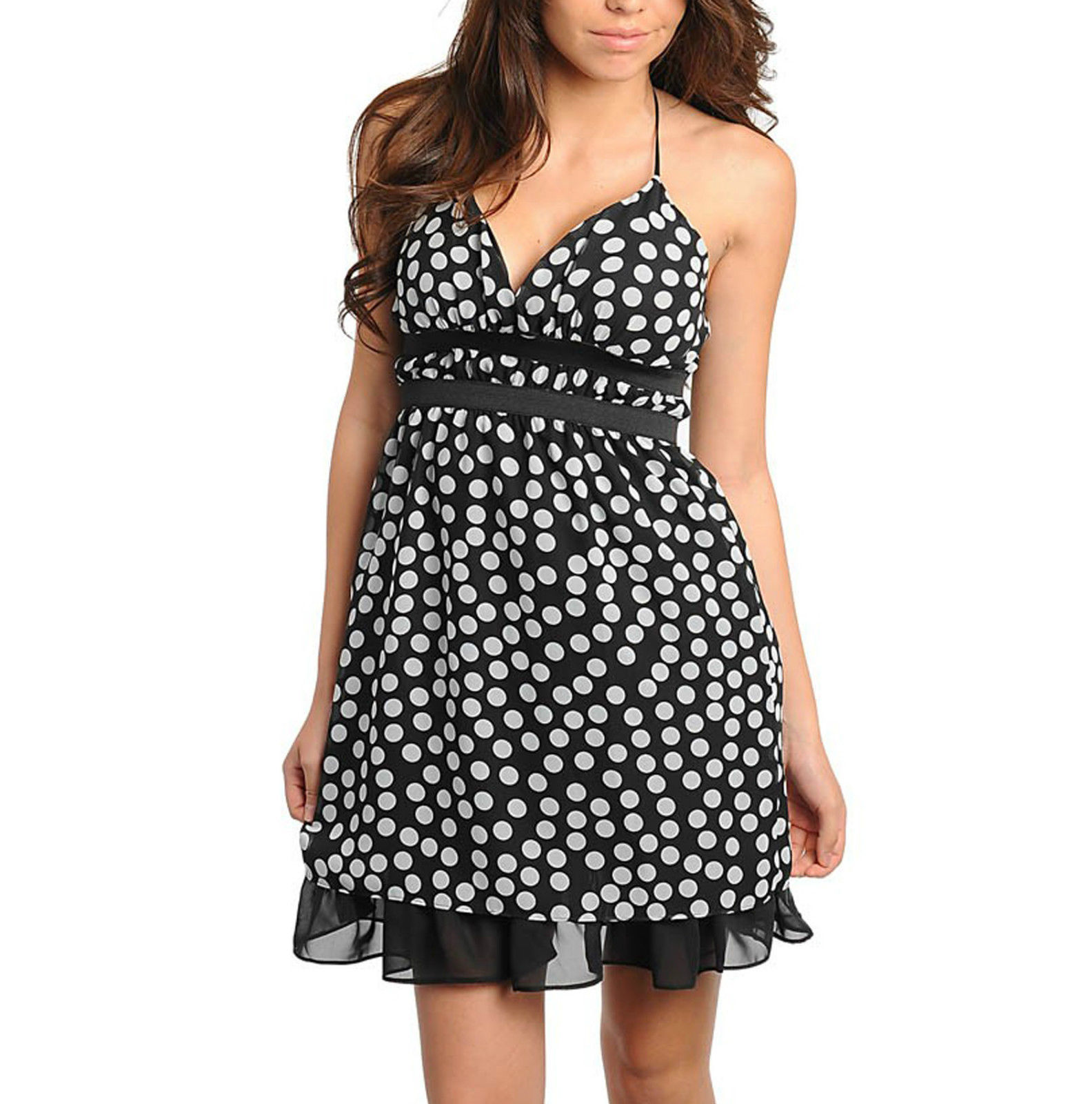 COWGIRL STYLE DRESS Black and White Polka Dot Empire Waist Spaghetti Strap Mini Dress