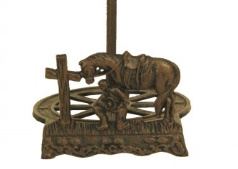 COWGIRL STYLE DECOR Praying Cowboy with Horse at Cross Cast Iron Western Paper Towel Holder