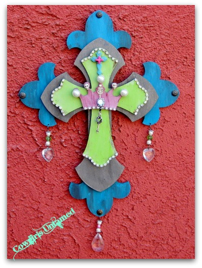 COWGIRL GLAM DECOR Pearls Skulls Crystals and Crown on Cross Wood Western Cowgirl Cross Hanging Sign