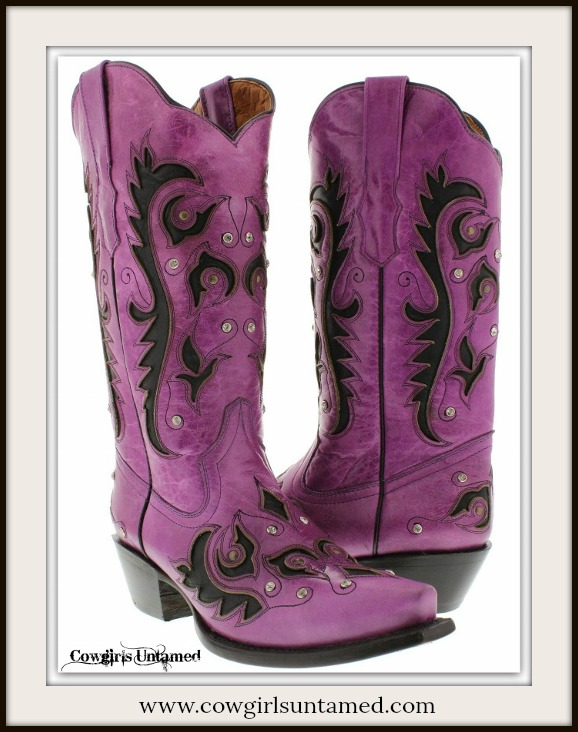 COWGIRL STYLE BOOTS Rhinestone Studded Black Inlay Snip Toe Purple GENUINE LEATHER Western Boots