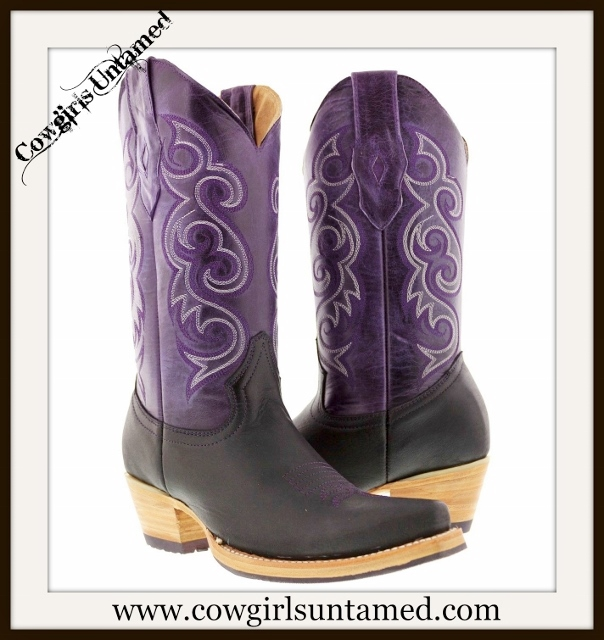 WESTERN COWGIRL BOOTS White Embroidery on Midcalf Purple GENUINE LEATHER Boots