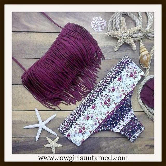 COWGIRL GYPSY BIKINI Purple Fringe Padded Top and Floral Bottoms 2 piece Bikini