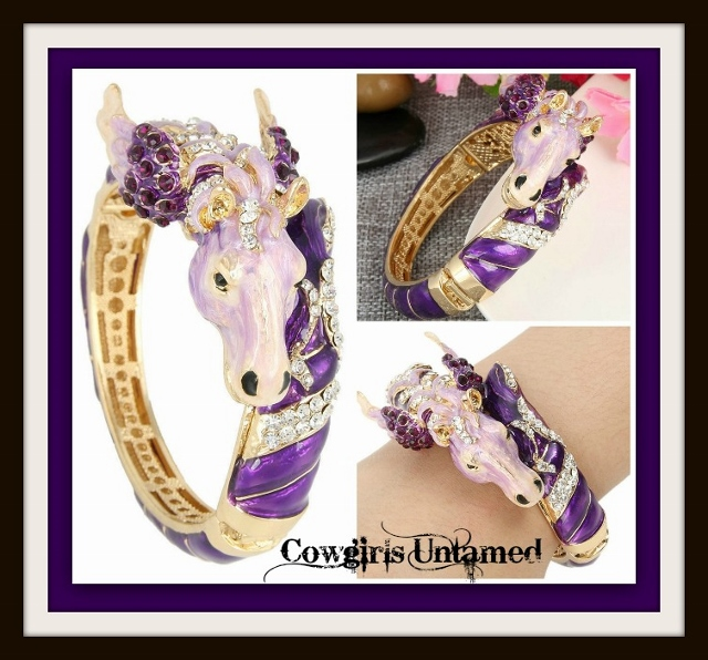 HORSE LOVIN' COWGIRLCUFF Shades of Purple Enamel and Clear Crystal Pegasus Horse Western Cuff Bracelet
