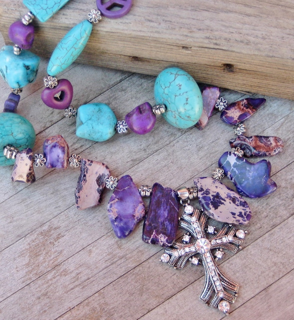 COWGIRL GYPSY NECKLACE Antique Silver Rhinestone Cross Pendant on Purple Sea Sediment Jasper N Turquoise Peace Skull Heart Chunky Western Necklace