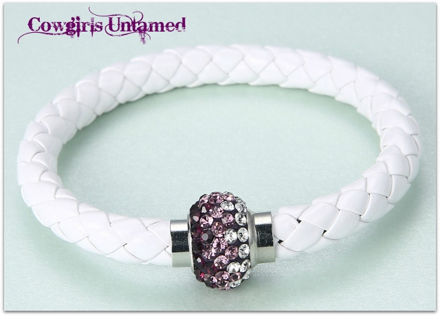 COWGIRL STYLE BRACELET Purple Ombre Rhinestone Magnetic Closure on White Braided Leather Western Bracelet