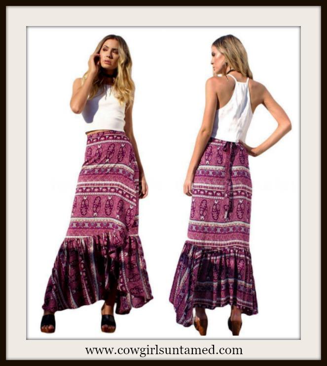 WILDFLOWER SKIRT Purple Paisley Floral Ruffle Tier Vintage Boho Wrap Skirt