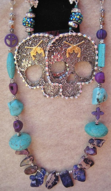 COWGIRL GYPSY NECKLACE Purple Sea Sediment Jasper N Turquoise Peace Skull Heart Silver Chunky Western Necklace