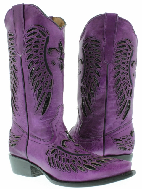 COWGIRL STYLE BOOTS Black Sequin Fleur De Lis & Angel Wing Inlay Snip Toe Purple GENUINE Leather Western Boot