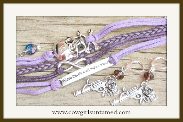 "COWGIRL GYPSY EARRINGS SET Antique Silver Skull n ""Where There's a Will There's A Way"" Purple Leather Bracelet Earring SET"