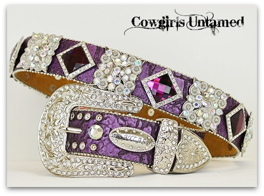 COWGIRL STYLE BELT Silver Square Crystal Concho and Purple Prism on Purple Embossed Leather Western Belt by ATLAS