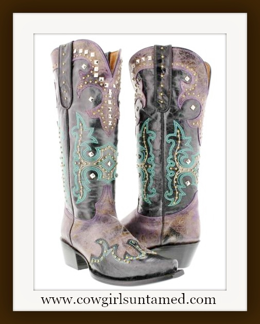 WESTERN COWGIRL BOOTS Turquoise Embroidery Silver Studded on Purple GENUINE LEATHER Cowgirl Boots
