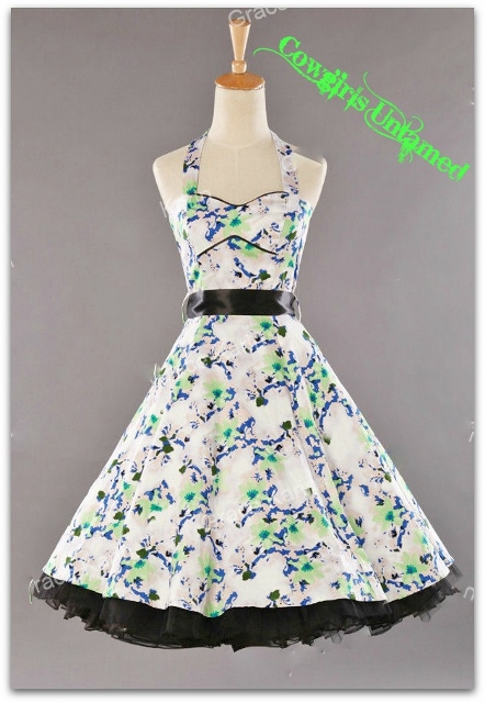 COWGIRL PINUP DRESS Multi Color Sweetheart Neckline Halter Style Swing Dress