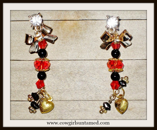 COWGIRL GLAM EARRINGS Garnet Red & Black Crystal Gold Bow Rhinestone Earrings