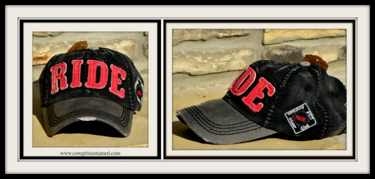 """COWGIRL STYLE CAP Red """"RIDE"""" Distressed Fabric on Black & Red Western Cap"""