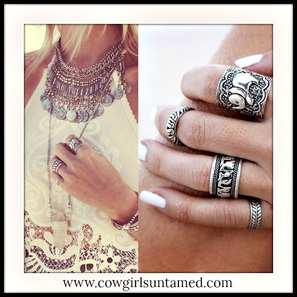BOHO CHIC RING SET Antique Silver Boho Ring Set of 4