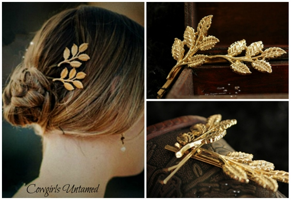 COWGIRL STYLE  BARRETTE Leaves Golden Metal Hairpin Hair Clip Barrette