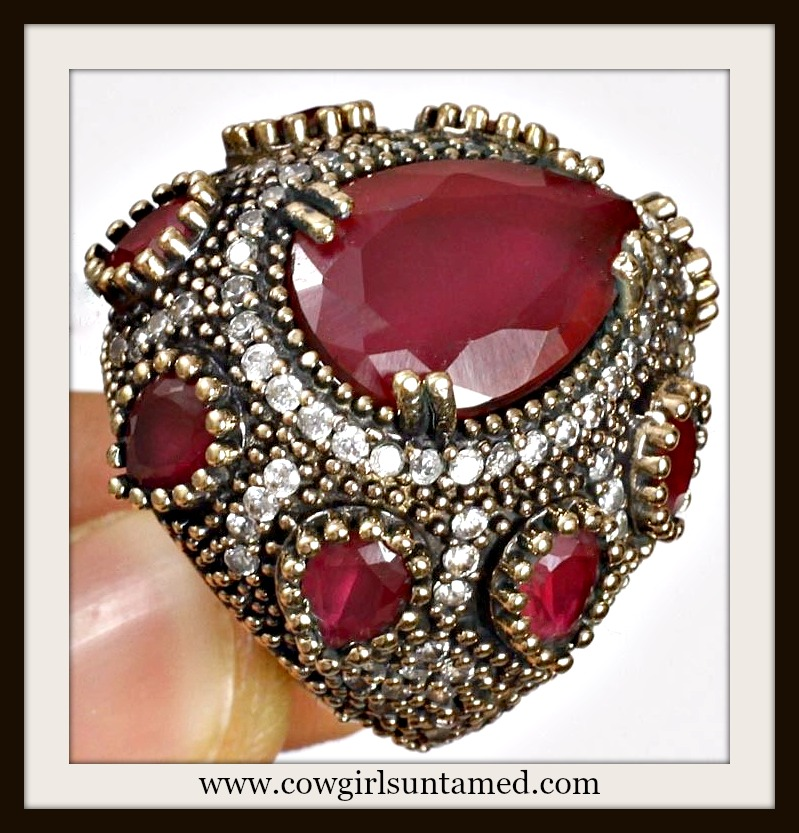 VINTAGE GYPSY RING Handmade Ruby & Topaz .925 Silver & Antique Bronze Ring