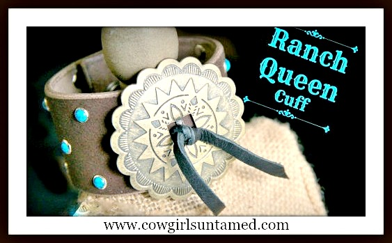 RANCH QUEEN COWGIRL CUFF Turquoise Studded Silver Concho Leather Western Cuff Bracelet