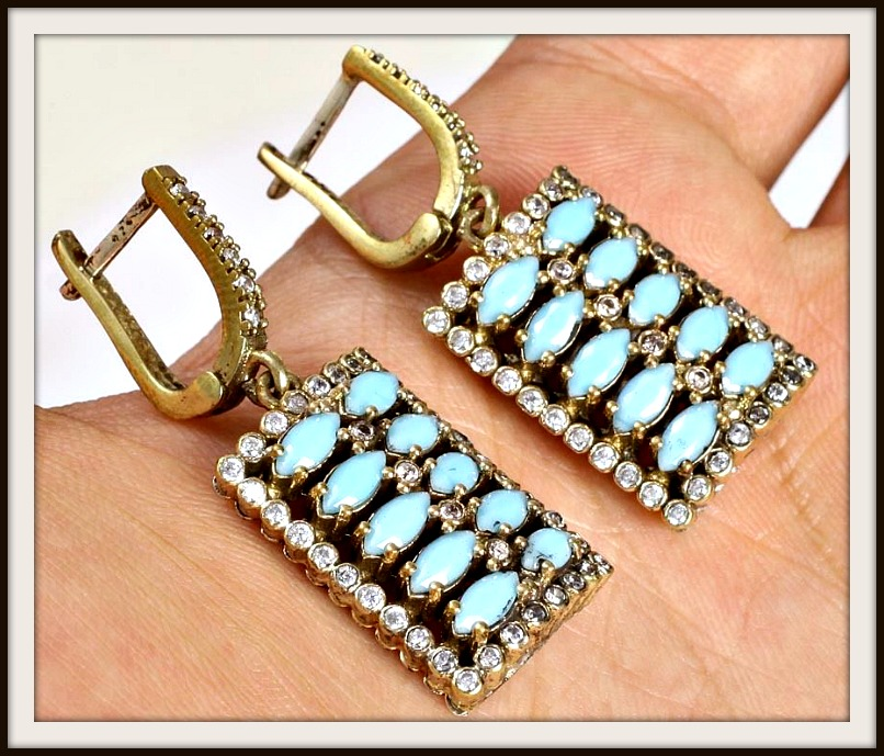 VINTAGE GYPSY EARRINGS Rectangle Handmade Topaz Turquoise .925 Silver & Bronze Earrings