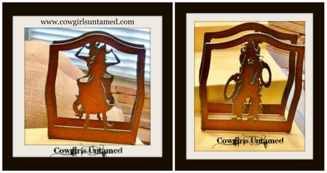 COWGIRL STYLE DECOR Recycled Rustic Metal Western NAPKIN HOLDERS