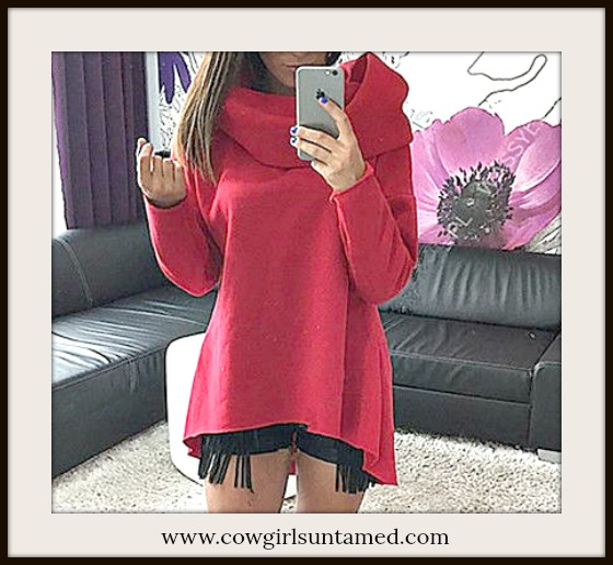 COWGIRL STYLE SWEATER Red Cowl Neck Asymmetrical Hemline Pullover Top