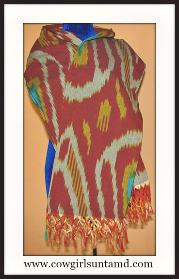 COWGIRL GYPSY SCARF Multi Color Grey Turquoise Red Yellow Fringe Ikat Scarf