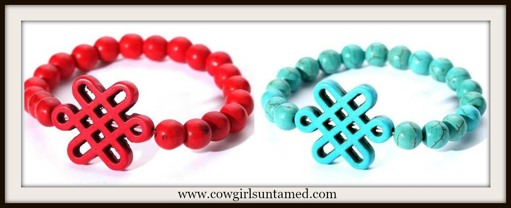 COWGIRL GYPSY BRACELET Turquoise Celtic Knot on Beaded Western Bracelet