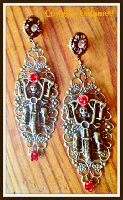 COWGIRL BIKER EARRINGS Red Turquoise Skull and Metal Flower on Antique Bronze Motorcycle Crystal Earrings
