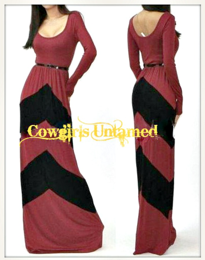 COWGIRL STYLE DRESS Red N' Black Chevron Stripe Long Sleeve Western Maxi Dress with FREE BELT