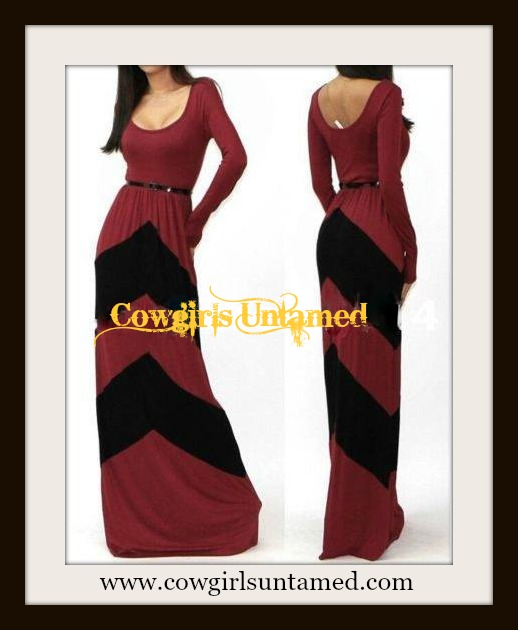 COWGIRL STYLE DRESS Red N' Black Chevron Stripe Long Sleeve Western Maxi Dress with FREE BELT