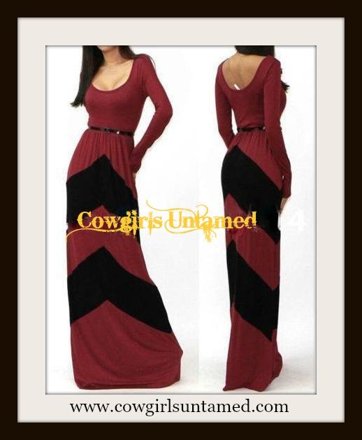 COWGIRL STYLE Black Chevron Stripe Long Sleeve Western Maxi Dress ...