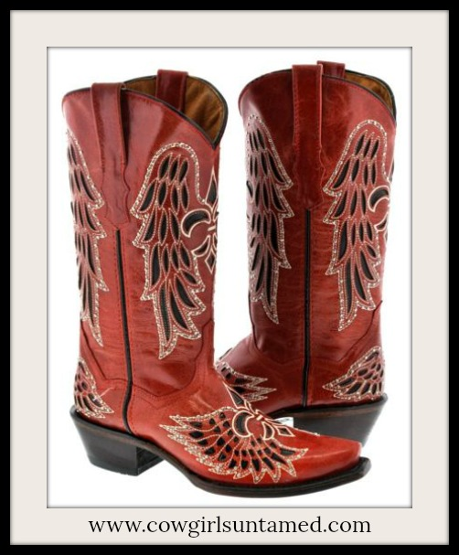 RODEO REBEL BOOTS Red and Black Embroidered Fleur De Lis Rhinestone Studded Cowgirl Boots