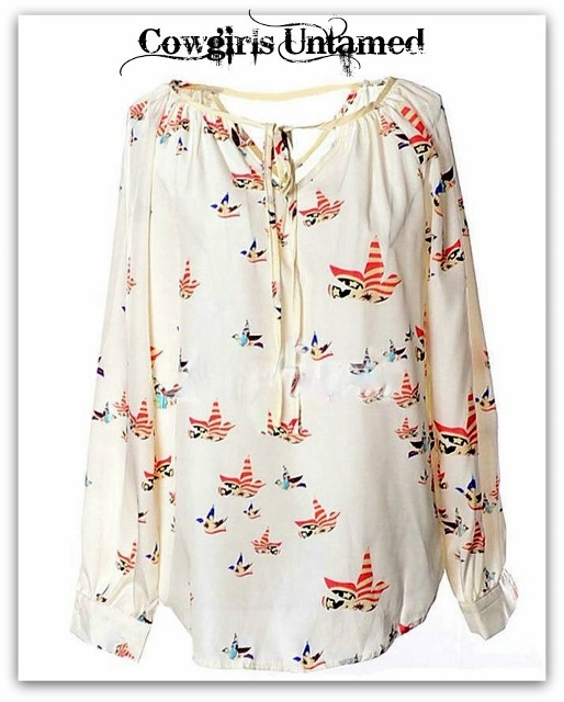 AMERICAN COWGIRL TOP Red N Blue Stars N Stripes Falg Birds on CreaM Lightweight Top
