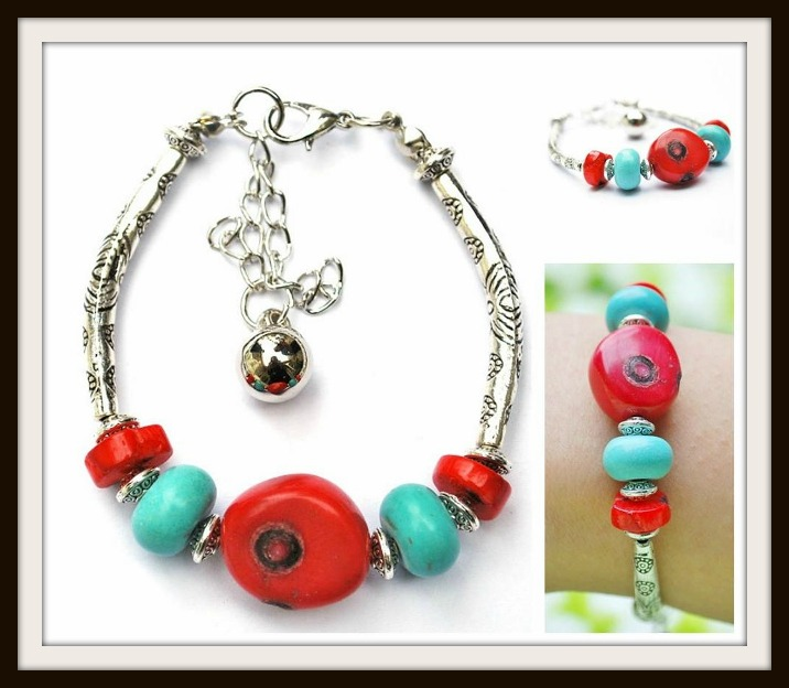 COWGIRL STYLE BRACELET Red Coral and Aqua Turquoise on tibetan Silver Western Bracelet