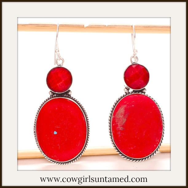 WESTERN COWGIRL EARRINGS 925 Sterling Silver Red Coral Gemstone Earrings
