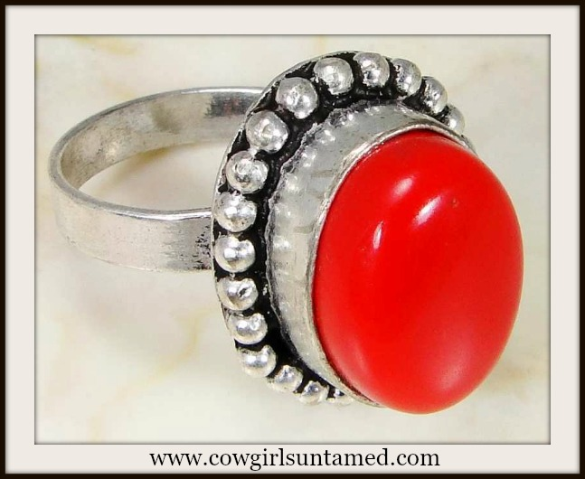 WESTERN COWGIRL RING 925 Sterling Silver Red Coral Gemstone Ring