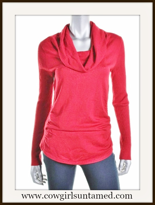 HOOKED UP! SWEATER Red Cowl Neck Ruched Side Designer Sweater