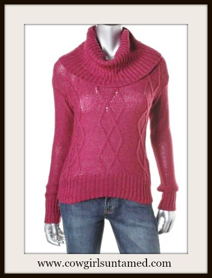 OH MG! SWEATER Burgundy Red Cable Knit Cowl Neck Cropped Designer Sweater