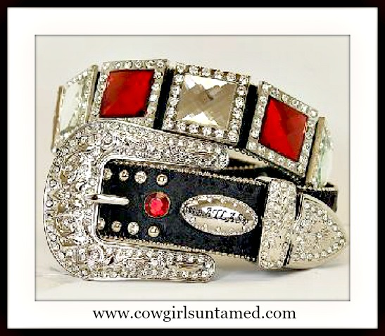 COWGIRL GLAM BELT Red & Clear Crystal Concho Silver Rhinestone Buckle Belt