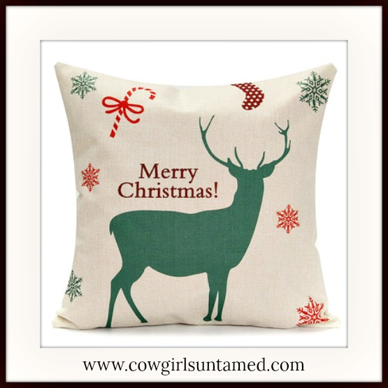 """COWGIRL CHRISTMAS DECOR """"Merry Christmas"""" Reindeer Stocking and Snowflakes """" Vintage Style Pillow Case"""
