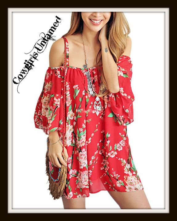 WILD FLOWER TOP Red Floral Open Shoulder Chiffon Boho Top / Mini Dress