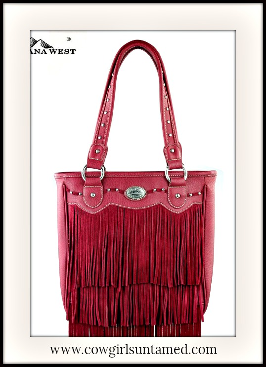 COWGIRL GYPSY HANDBAG Red Fringe Boho Style Double Strap Handbag