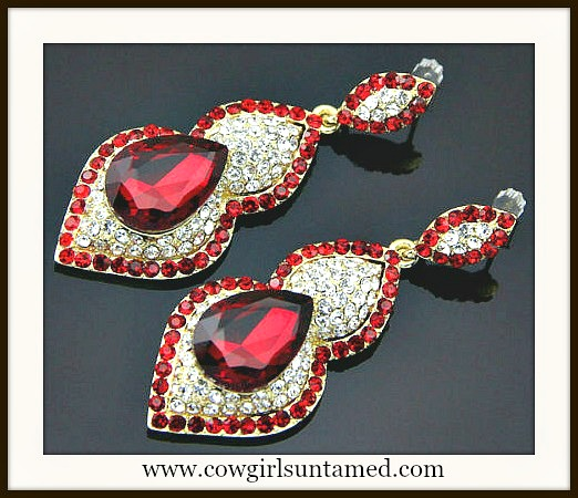 COWGIRL GLAM EARRINGS Red Glass Rhinestone Gold Plated Earrings